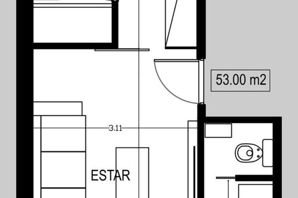 Semipiso 2 amb. 53 m² (A - frente)