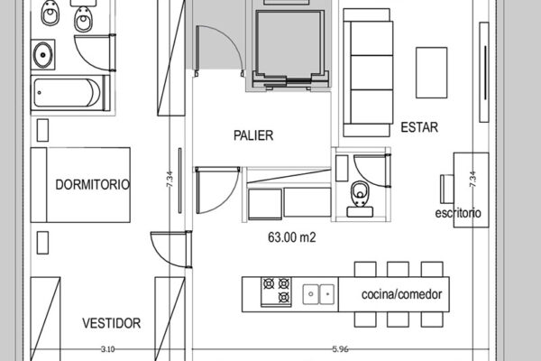 2 y ½ amb. 89 m² (con terraza privada)